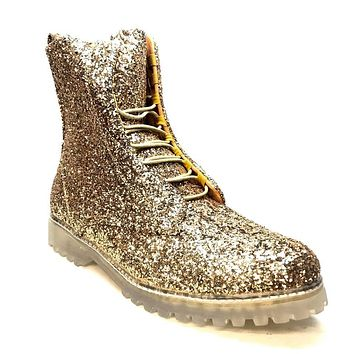 Encore Gold Glitter Zipper Boot FI2285
