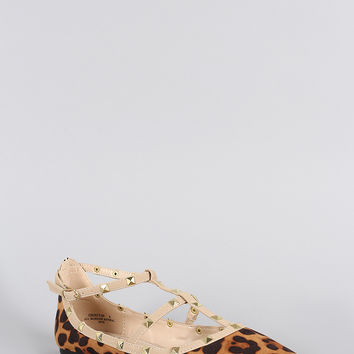 Bamboo Studded Cage Leopard Pointy Toe Flat