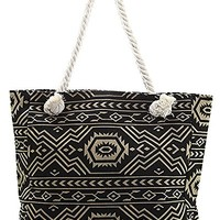 Aztec Pattern Cotton Canvas Beach Town Tote Bag (Black & Tan)