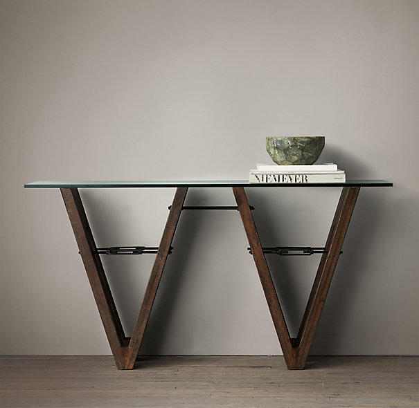 Reclaimed wood glass v form console from restoration hardware - Restoration hardware entry table ...