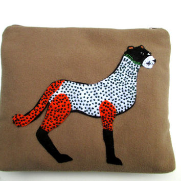 Beige wool pouch, Handmade,featuring a puma, hand applique, hand embroidered, clutch, pouch, Cosmetic bag