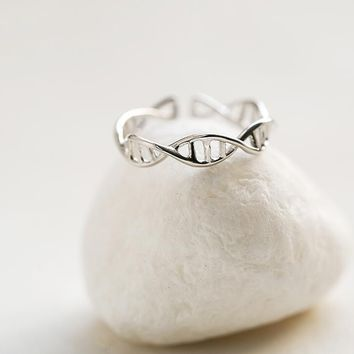 Hfarich New Fashion Resizeable DNA ring for women Chemistry Molecule rings Double Helix  Ring Minimalist Ring SYJZ080
