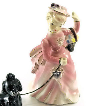 Vintage Figurine Women statue walking her Poodle Made in Japan