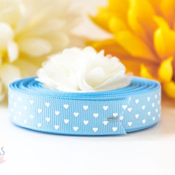 """5/8"""" Polyester Grosgrain Ribbon - Light Blue with White Printed Heart Polka Dot Pattern - Craft DIY Sewing Project Trim Scrapbooking"""