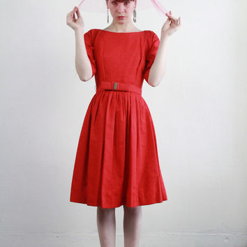 1960s Red Dress . Bow Belt . Diamond Weave Cocktail Gown . 60s Vintage