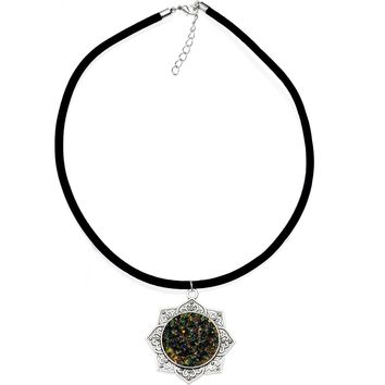 """Handcrafted Black Faux Opal Lotus Love Velveteen Cord Necklace 16"""""""