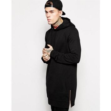 BDLJ,2017 harajuku Fashion Men's Long Black Hoodies Sweatshirts Feece With Side Zip Longline Hip Hop Streetwear Shirt moletom