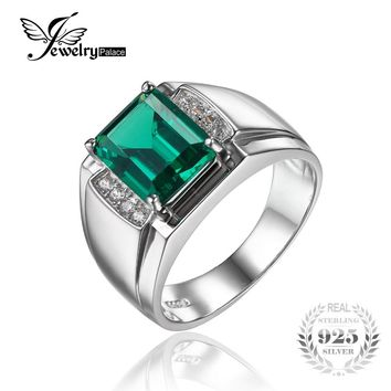 Jewelrypalace Solid 925 Sterling Sliver Men Luxury 2.7ct Created Emerald Anniversary Wedding Ring Genuine Fine Jewelry