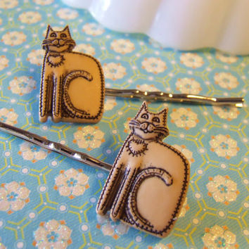 Here Kitty Kitty Bobby Pins - Plastic Bobby Pins - Lazy Laying Kitty - Kitten Hair Clip - Kitty Cat Bobby Pins - Hair Accessories