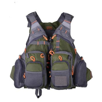 Outdoor Fishing Life Vest Men Breathable Swimming Life Jacket Safety Waistcoat Survival Utility Vest