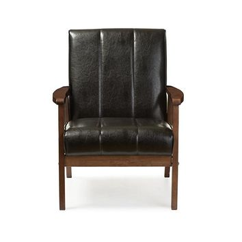Baxton Studio Nikko Mid-century Modern Scandinavian Style Black Faux Leather Wooden Lounge Chair Set of 1