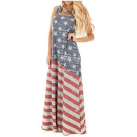 Women's Summer Beach Sleeveless Tank Dress Strapless American Flag Print Maxi Dress