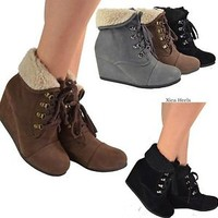 Women's Ankle Boots Wedge Heel Lace Up Booties Gray Black or Brown Faux Suede