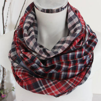 Checkered scarf men, Red Navy scarves, Handmade men scarf, Plaid scarf Men, Unique Christmas Gifts, Double-sided scarf, Winter scarf Unisex
