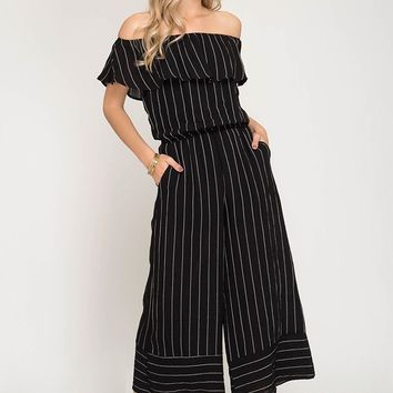Striped Off the Shoulder Capri Jumpsuit - Black