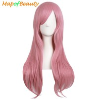 "MapofBeauty 28"" Long Curly Cosplay wig Blonde Black Brown Pink Fake Hairpiece Hairstyle Synthetic Hair  Natural Wigs For Women"