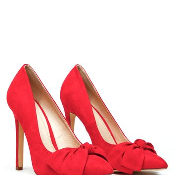Red Bow Faux Suede Pointed Toe Heels @ Cicihot Heel Shoes online store sales:Stiletto Heel Shoes,High Heel Pumps,Womens High Heel Shoes,Prom Shoes,Summer Shoes,Spring Shoes,Spool Heel,Womens Dress Shoes