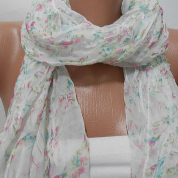 White Floral Scarf Shawl, Pink Green Floral Cowl Scarf with Lace Edge, Gift For Her For Mother, ScarfClub