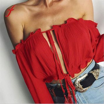Feitong Women Sexy Off Shoulder Blouse Crop Top 2017 Summer Flare Sleeve Bandage Long Sleeve Shirt Casual Blouse Blusas feminina