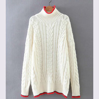 Beige Color Block Cable Knit Sweater