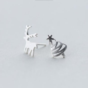 Christmas gifts- 925 Sterling Silver Asymmetric Deer Christmas Tree Earrings+ Nice gift box ALQ E3824