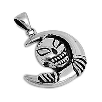 Sterling Silver Skull with Crescent Moon pendant