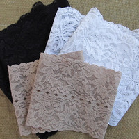 3 Pr-Black, White and Beige Stretch Lace Peek A Boots...Boot Cuffs...Boot Toppers...Socks...New...