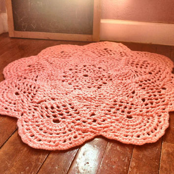 "Large 39"" Thick and Soft Crochet Round Sunshine Doily Rug MORE COLORS (shown in Cotton Candy Pink) Made to Order Soft for Baby Nusery"