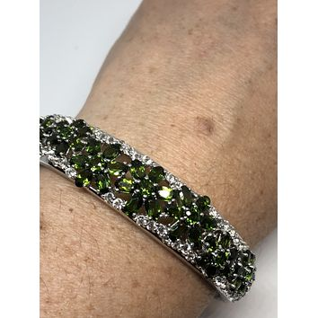 Genuine green tourmaline white sapphire gemstone 92.5% Sterling Silver Bangle Bracelet