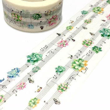 music note washi tape 7M love song succulent butterfly music theme our song piano music I love music sticker tape music planner sticker