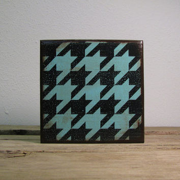 Turquoise Houndstooth Retro Painted Block Mix and Match Art Block--MatchBlox--1756
