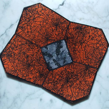 Halloween Candy Fabric Bowl - Bats- Spider Web - Black - Orange