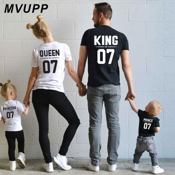 family matching clothes king queen prince princess t shirt father mother daughter son look daddy mommy and me baby girl outfits