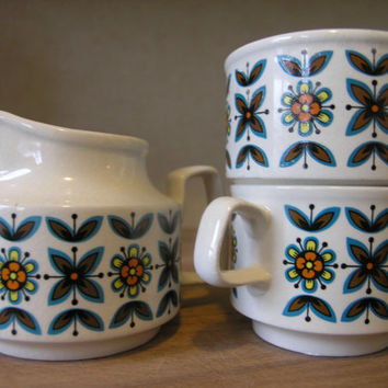 60s Staffordshire Potteries Rudyard Ironstone. 3 pieces ceramic set.