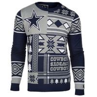 Dallas Cowboys Forever Collectibles KLEW Patches Ugly Sweater Sizes S-XXL w/ Priority Shipping