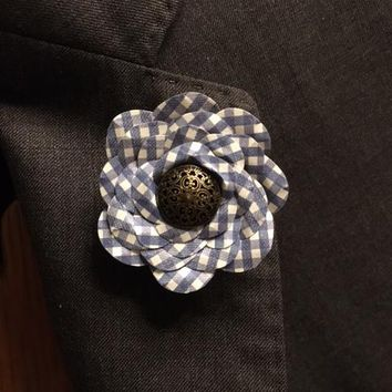 Blue Checkered Button Flower Rose Lapel Pin