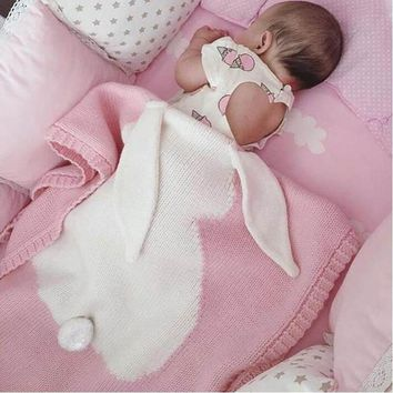 Gray Pink Baby Blanket Rabbit Crochet Newborn Blanket Kids Personalized Cotton Bedding Cover Appease Soft BabyPhoto Props
