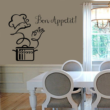 Wall Decals Phrase Bon Appetit Chef Decal Kitchen Cafe Home Vinyl Decal Sticker Kids Nursery Baby Room Decor kk336