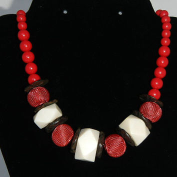 Chunky Red Necklace Ethnic Bead Tribal Bone Necklace Unique Holiday Gift OOAK