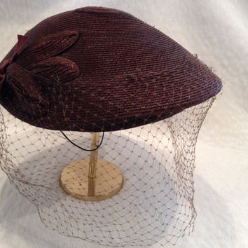 Vintage 1940s Women's Brown Veiled Hat