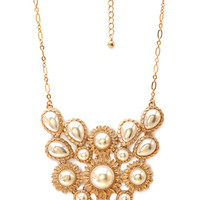 FOREVER 21 Opulence Faux Pearl Necklace Cream/Gold One