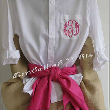 MONOGRAMMED BUTTON Down  shirt  Oversized by EmbellishThisLLC