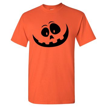 Halloween Pumpkin Face on a Orange T Shirt