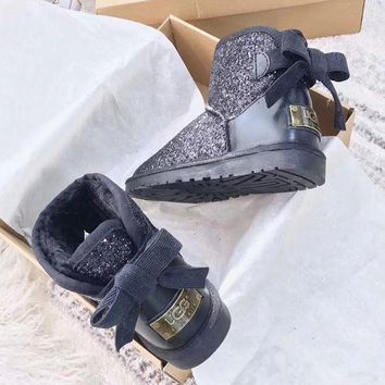 UGG : girl Large bow tie Keep warm Snow boots
