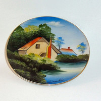 Hand Painted Wall Plate Made in Japan Small Cottage Decor Asian Artwork