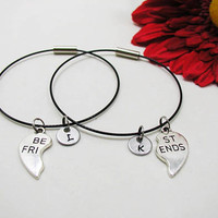 Best Friends  Bracelet - Best Friends  Bangle - Initial Charm - Best Friends Jewelry - Initial Bracelet - Custom Bracelet - Friendship Charm