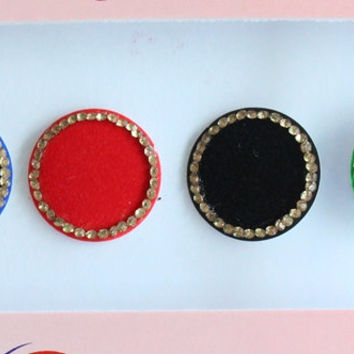 6 Big Size Multi color Wedding Round Bindis ,Round Bindis,Velvet Colorful Bindis,Colorful Face Jewels Bindis,Bindis,Self Adhesive Stickers