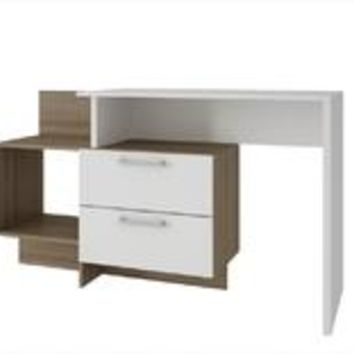 Accentuations by Manhattan Comfort Teramo Home Desk  with 1 Shelves in White and Oak