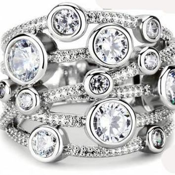 5TCW Metro Russian Lab Diamond Stacking Ring
