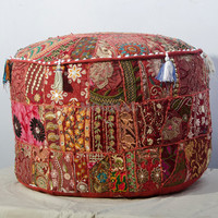 Bohemian Patch work pouf ottoman vintage indian pouf floor stool/foot stool, christmas decorative Floor Pillow